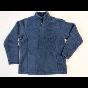 Lands End Sherpa fuzzy pullover blue